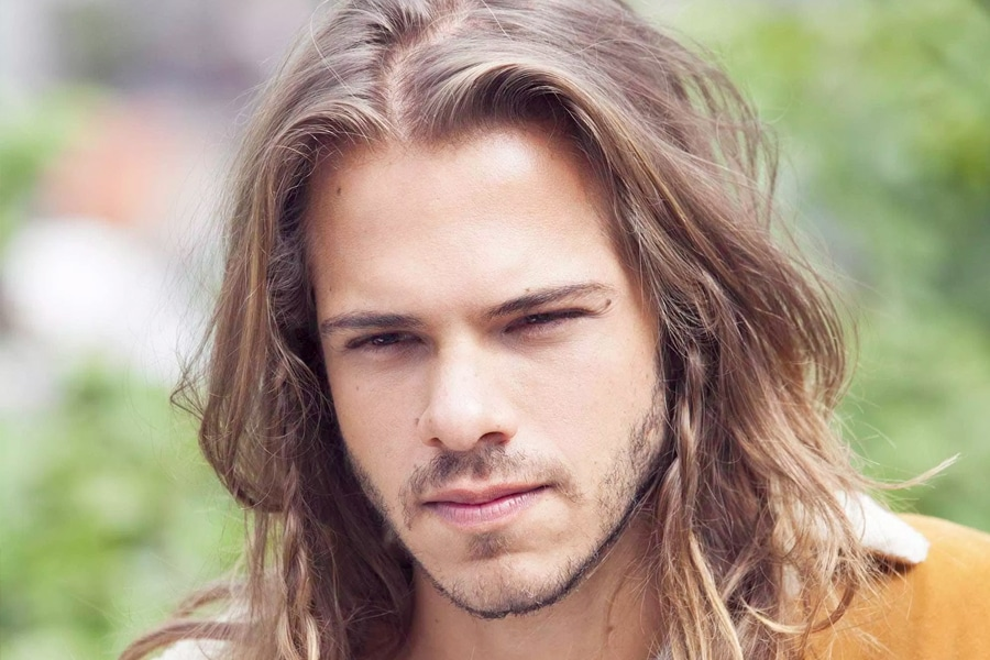 man with brown long hairstyle