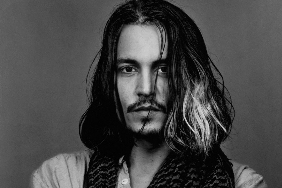 johnny depp with long hairstyle