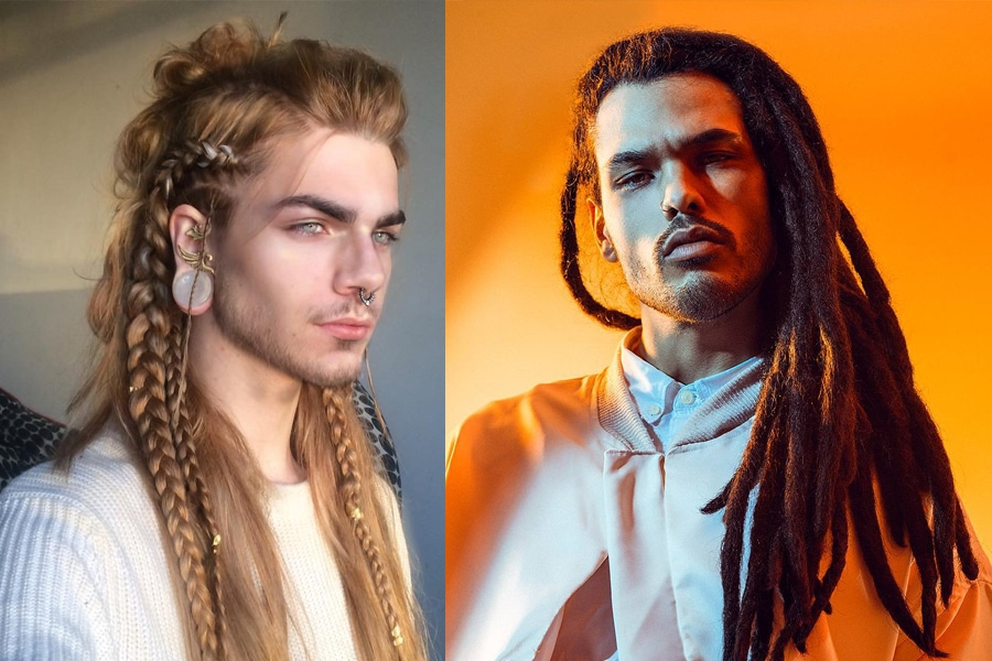 Men with long braid and dreadlock haircut hairstyle