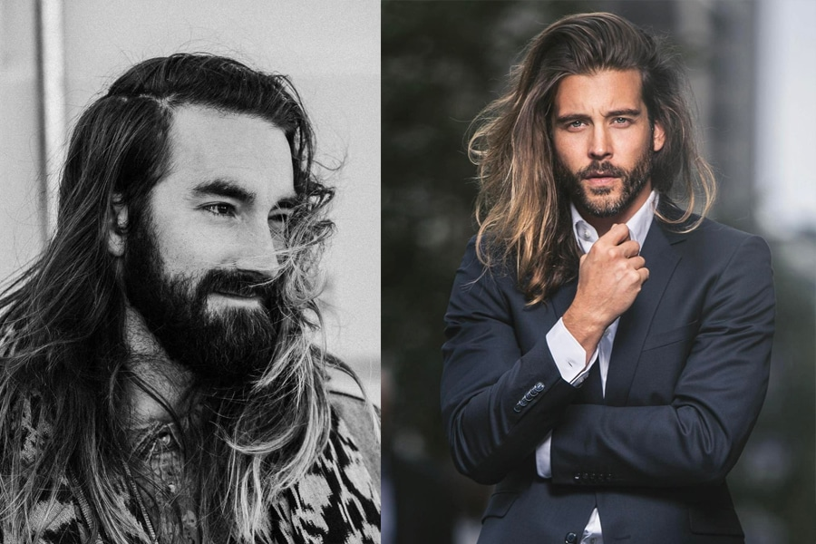 Men long haircut messy casual hairstyle