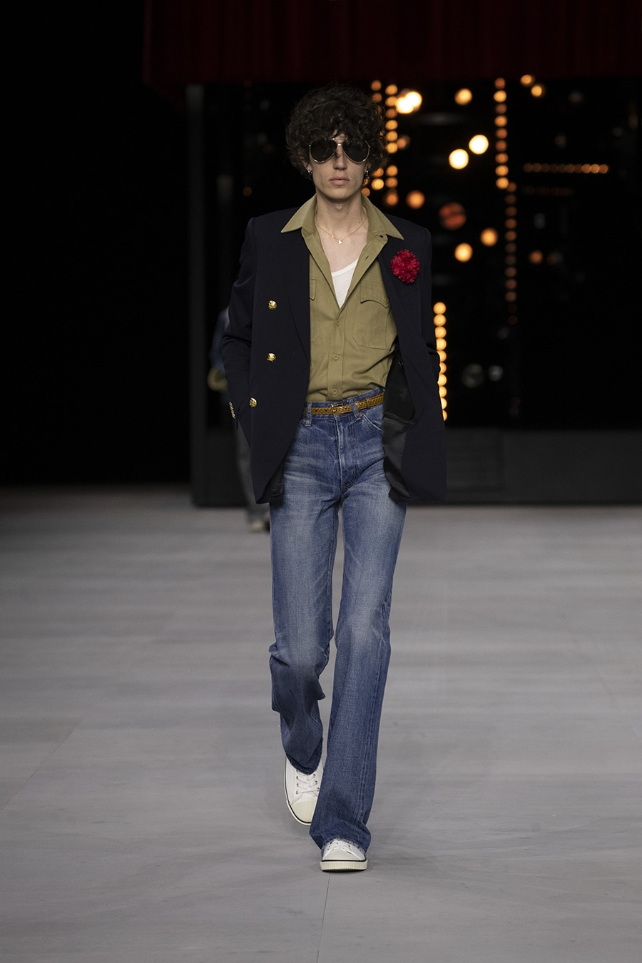 Male model on 70's inspired Celine runway