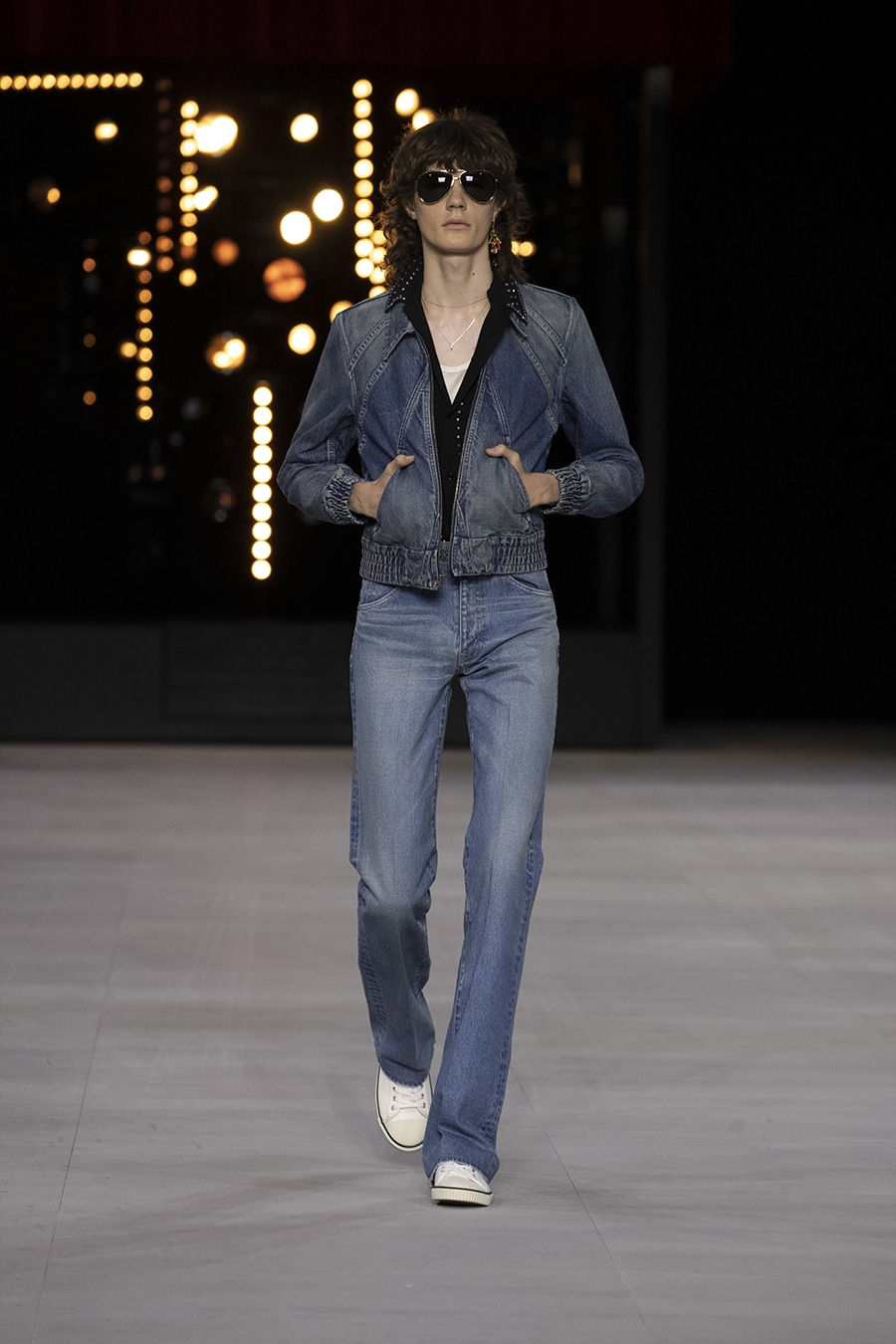 Male runway model in Double Denim Celine