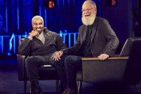 David Letterman and Kanye West on his show