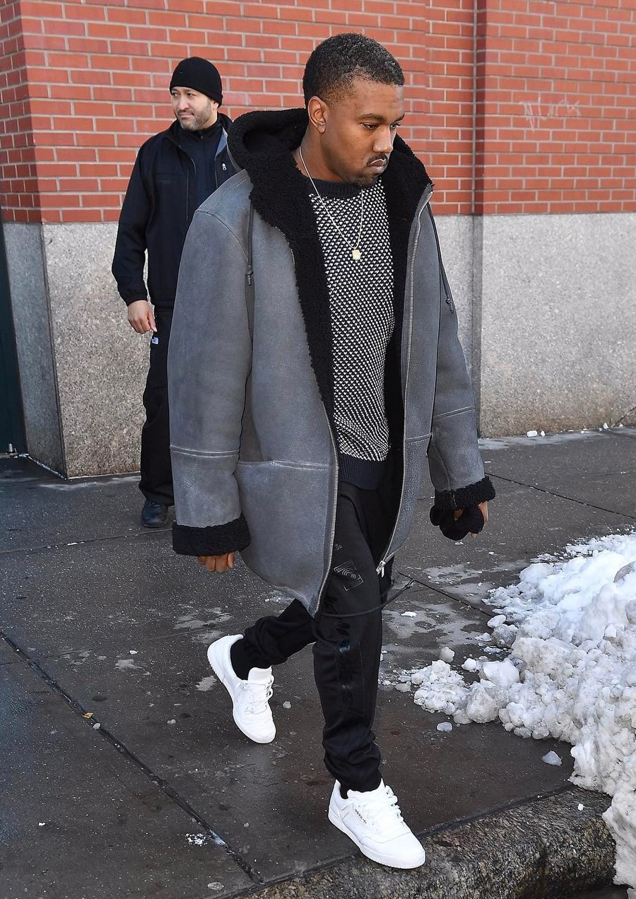Kanye in Thick Grey Coat