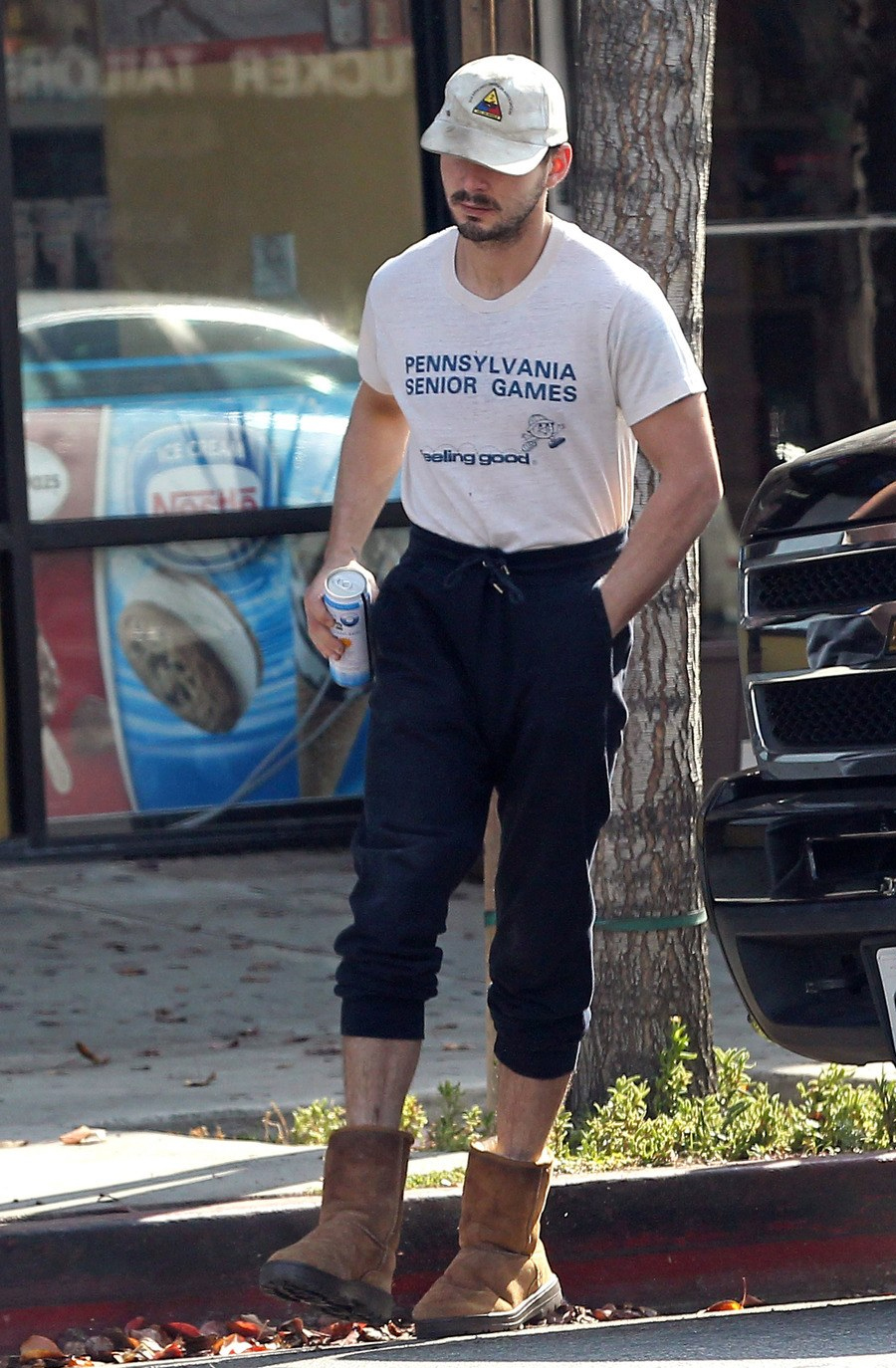 Shia Lebeouf in tshort and uggs
