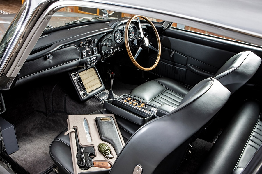 aston martin james bond dashboard view car