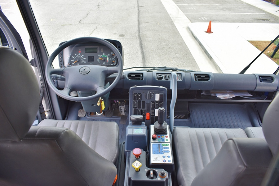 dashboard and steering wheel of mercedes-benz unimog vehicles