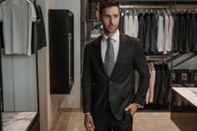 Model in a classic black suit