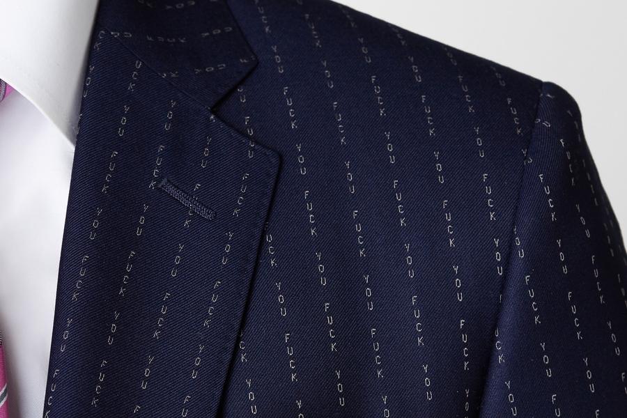Conor McGregor FU Pinstripe Suit detail
