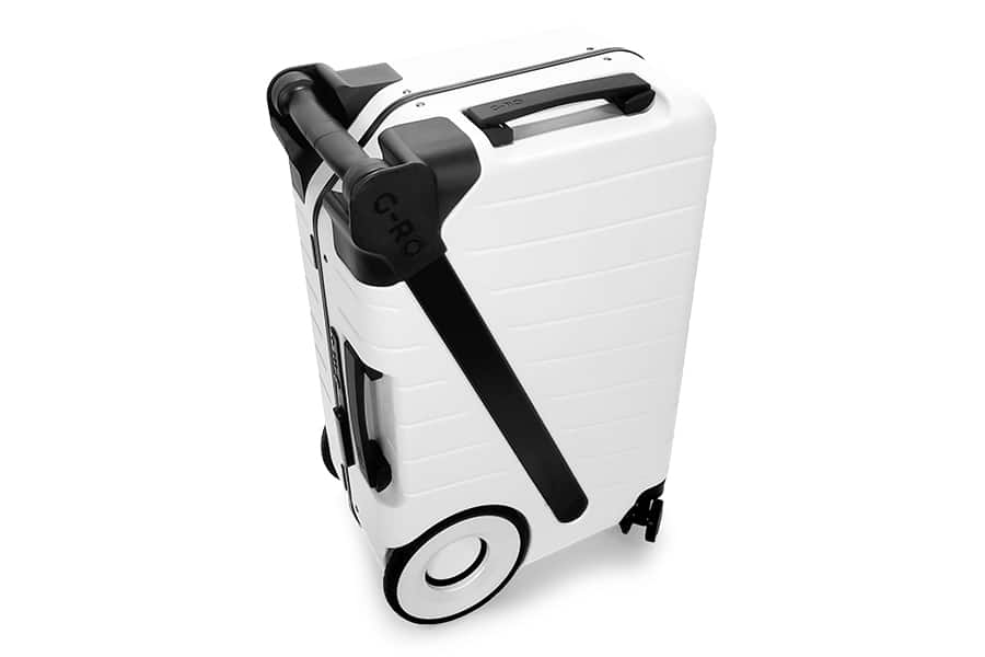 G Ro white Luggage shows handle
