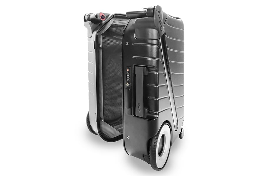 G Ro black Luggage is open