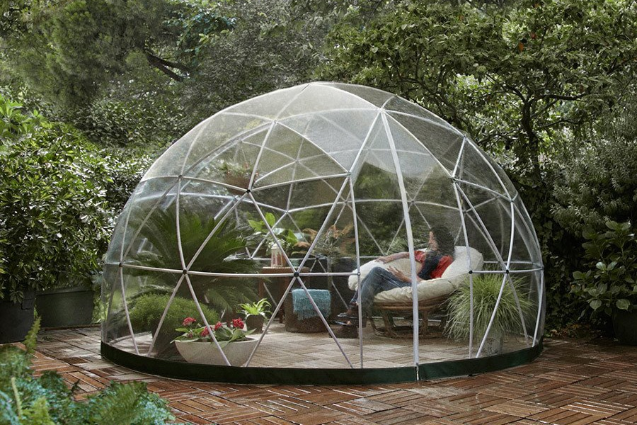 relaxation inside the garden dome igloo