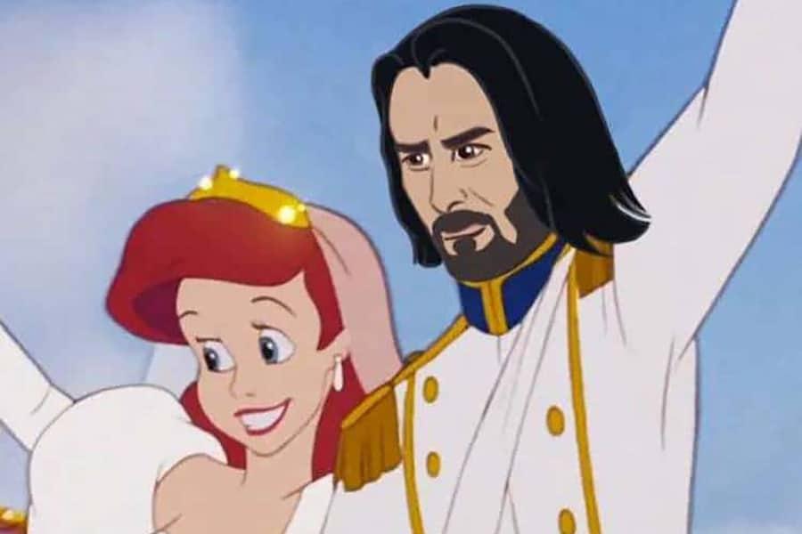 Keanu Reeves as Eric in the little mermaid