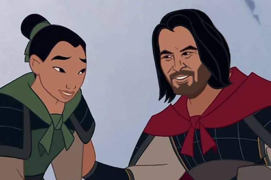 Keanu Reeves as captain li shang in disney mulan