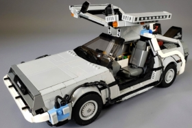 lego delorean carrying crane at the back