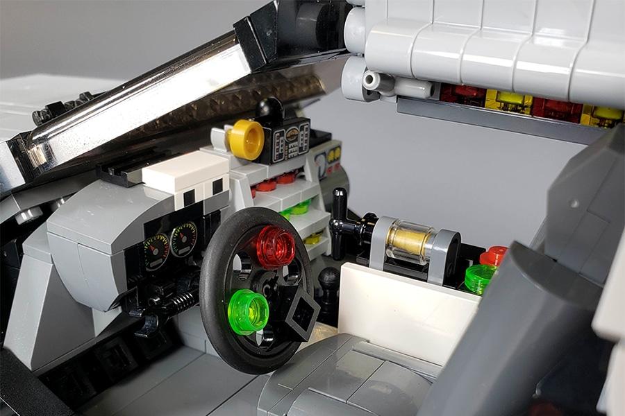 delorean steering wheel and dashboard lego version