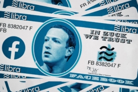 Graphic of Libra currency notes with Mark's face in center