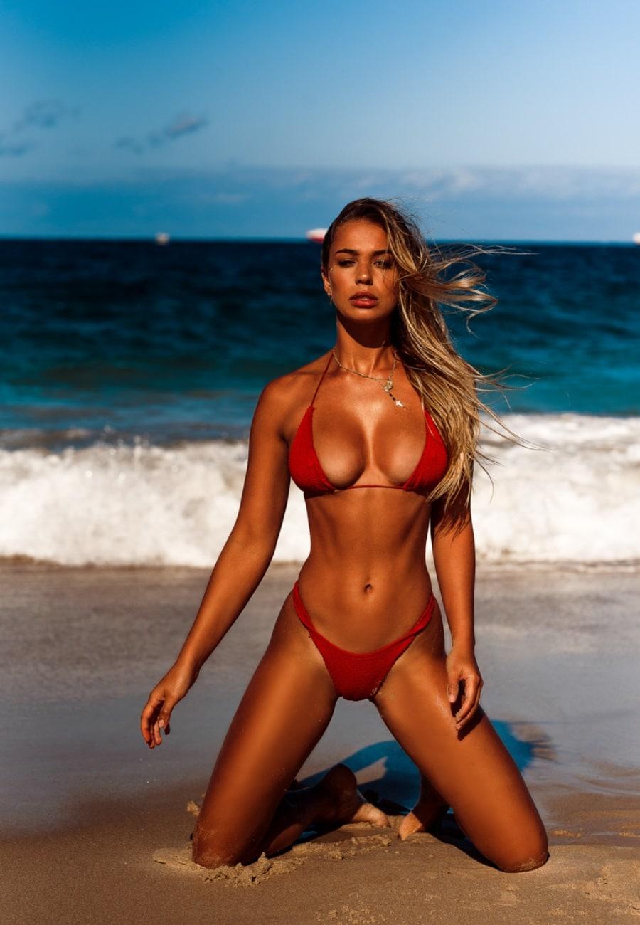 liv pollock red bikini