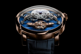 Dial ofMB&F LM2 Red Gold & Blue watch