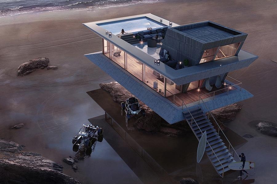 monolit beach house aerial view