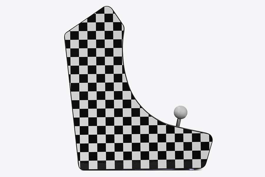retro arcade machine with checkered pattern