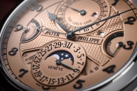 Closeup of the dial ofPatek Philippe Grandmaster Chime 6300A