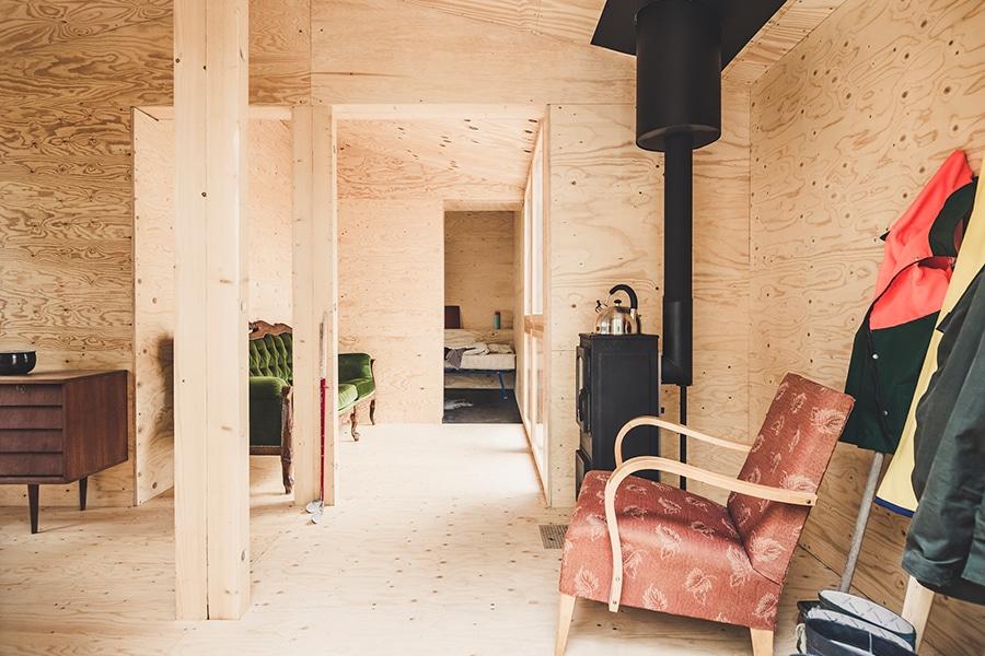 wood cabin entrance