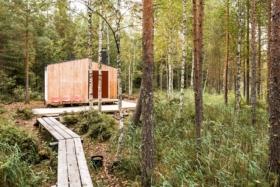 wood cabin walkway when you arrive