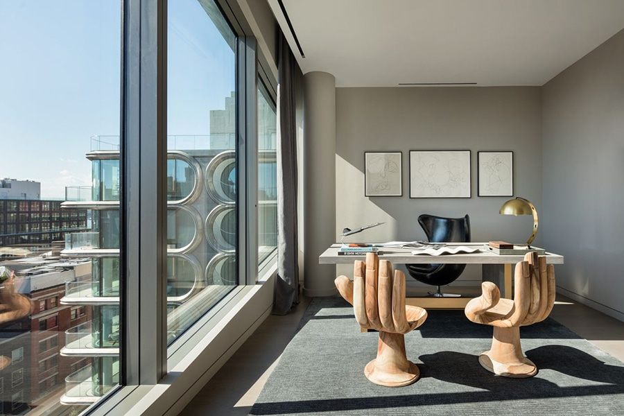 zaha hadid office in penthouse with arm chair