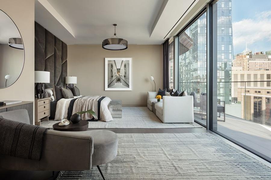 zaha hadid lounge area in nyc penthouse