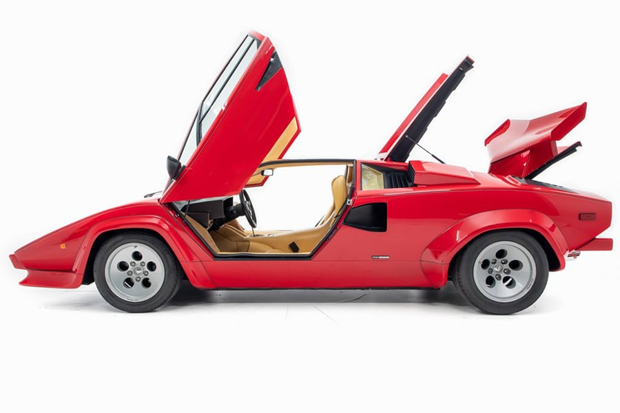 lamborghini countach side view while door open