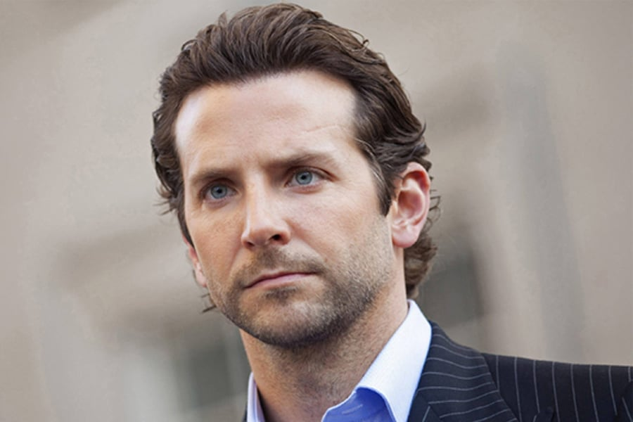 Wavy Slicked back bradley cooper hair