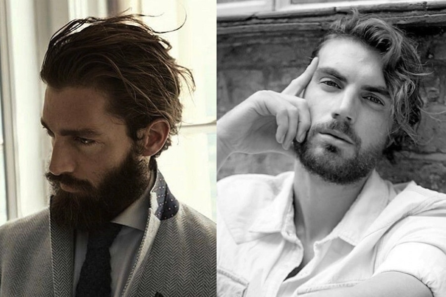 Messy Medium-Length Haircut with Beard