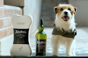 A delivery dog standing next to Ardbeg Whisky and bone-shaped box