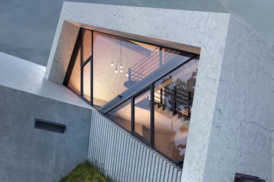 concrete penthouse window