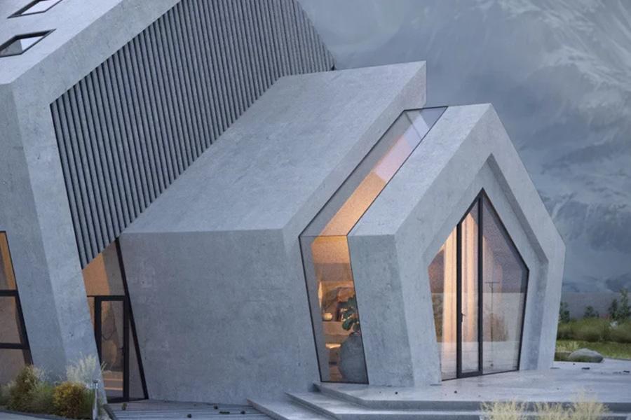 Concrete Penthouse Architecture rear view