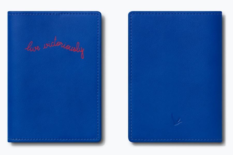 blue passport holder