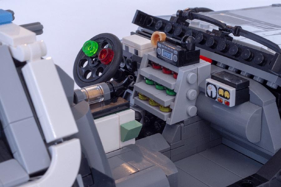 lego delorean steering wheel and dashboard
