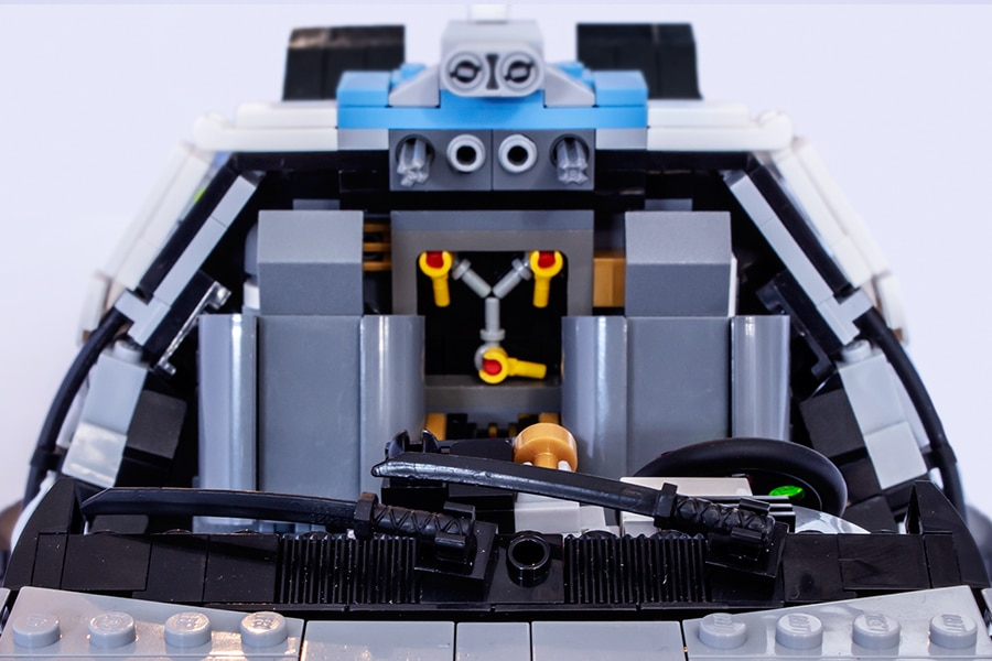 LEGO DeLorean top view of the inside