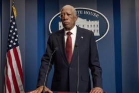 Morgan Freeman speaking to press in Angel Has Fallen