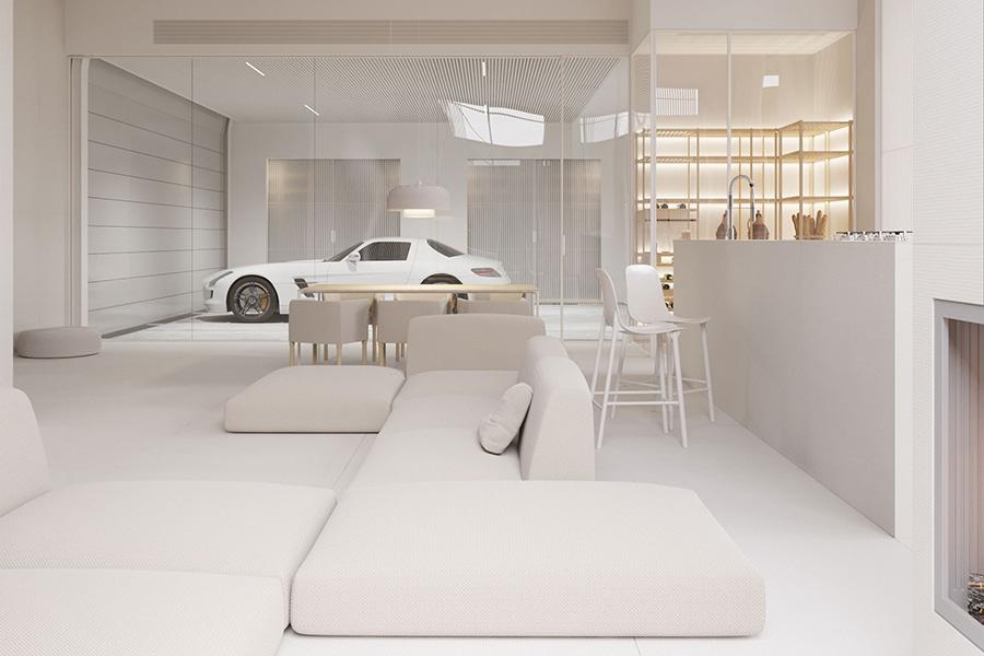 lounge area facing white car