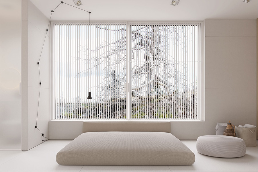 bed facing the window in sirotov architect