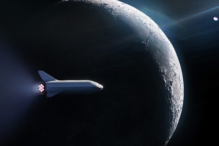 space x in view to the moon