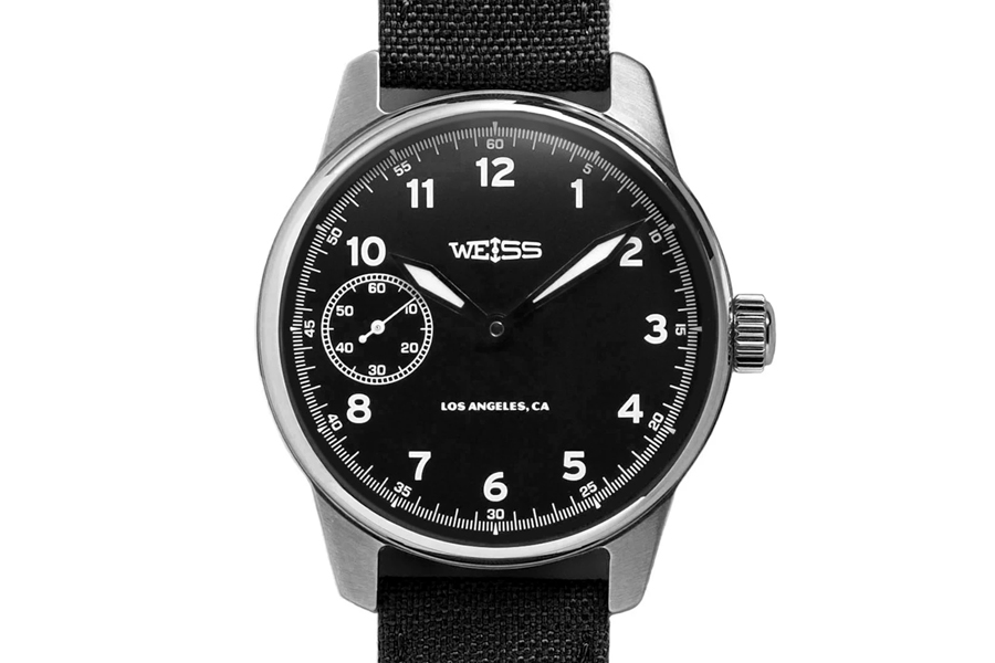Weiss Watch Company Black Dial on Black Cordura American Issue Field Watch