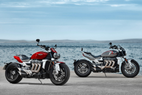 A red and a grey 2020 Triumph Rocket