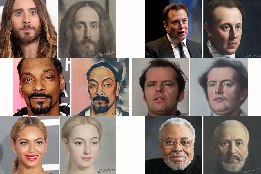 30 celebrities are painted by AI technology