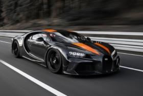 Bugatti Chiron three quarter front in motion