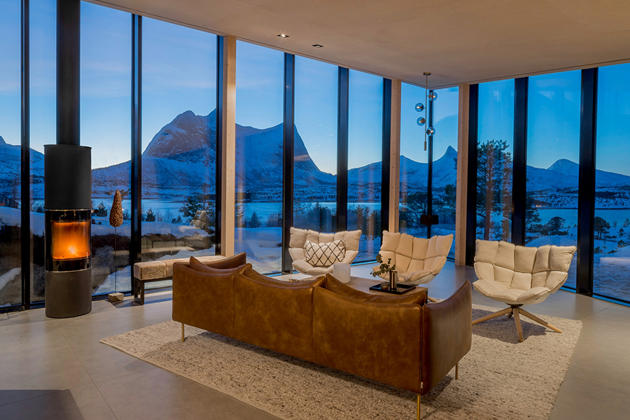 Efjord House lounge area looking over the mountain