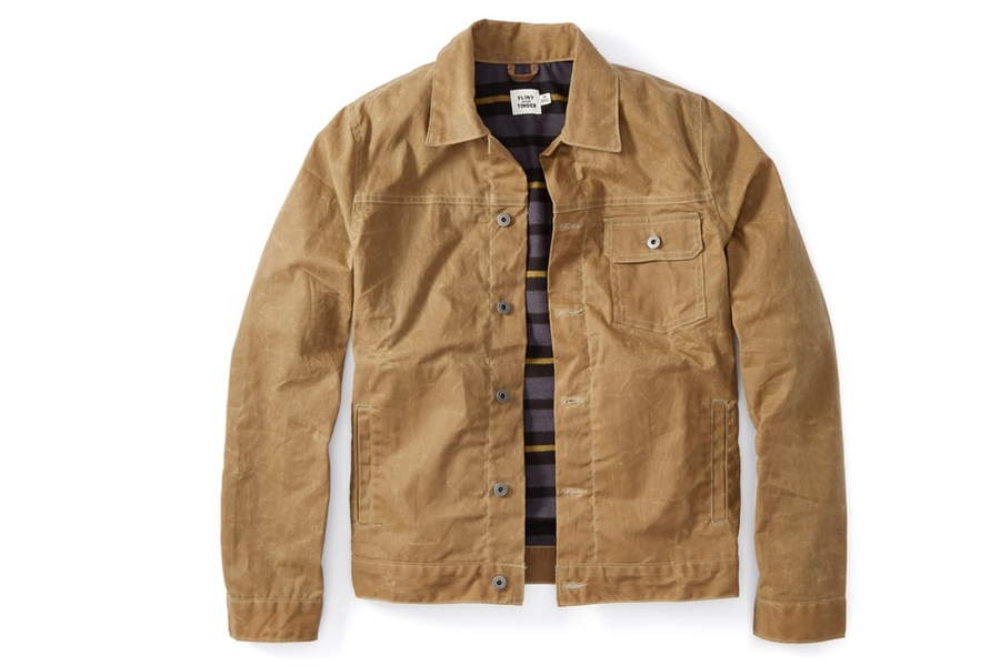 Huckberry Finds - Flint and Tinder Flannel-lined Waxed Trucker Jacket