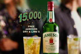 15000 Free Jameson Dry & Lime's graphic with a photo of Jameson Dry & Lime in a glass next to a bottle of Jameson